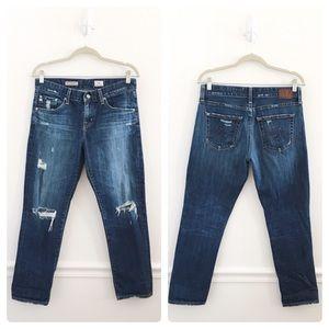 AG Dark Ex-Boyfriend Slouchy Slim Distressed Jeans